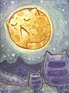 ACEO ATC Cats and Moon by Siriliya.deviantart.com on @deviantART