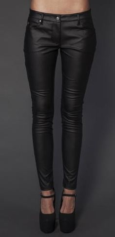 www.GothAuctions.com - Free Gothic Auctions - LIP SERVICE BLACK MATTE PVC HIPSTER SKINNY GOTH PANTS LARGE - Listed by SyntheticShock!