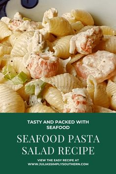 Creamy seafood pasta salad with lobster, crab and shrimp. You'll enjoy this easy recipe and it is perfect for parties and gatherings. Creamy Seafood Pasta, Seafood Salad, Simply Southern, Southern Marsh, Southern Tide, Southern Prep, Southern Food, Shrimp And Lobster, Pasta Salad Recipes