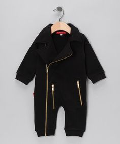 Take a look at this Black Biker Playsuit - Infant  by Oh Baby London on #zulily today!