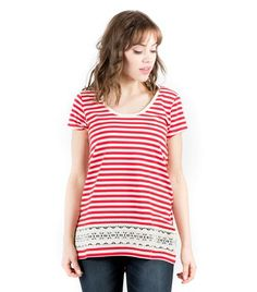 Striped Cap Sleeve Lace Trim Top - Back View Red