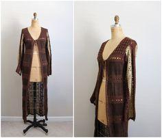 70s Bohemian Crochet Leather Maxi Vest / Boho by PARASOLvintage