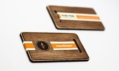 wooden business cards – love the idea of a stripe of info with negative/patterned space