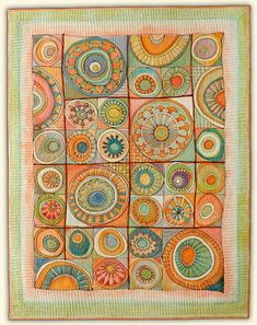 """Marianne Burr--""""Frank's Melons""""  ____________________  49""""h x 38""""w    Quilt Visions 2006 - La Jolla Fiber Arts Award    Private Collection, Oceanside, California"""