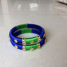 Blue and green combination silk thread bangles