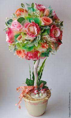 """Купить Топиарий """" Персиковый закат"""" - разноцветный, Персиковый цвет, розовый, зелёный"""