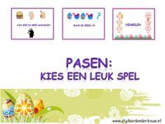 Digibordles Pasen: kies een leuk spel. - van wie is deze schaduw - maak de reeks af - hinkelen met de paashaas en de kuikens http://digibordonderbouw.nl/index.php/themas/pasen/algemeenpasen/viewcategory/185