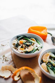 Szechuan Miso Bok Choy Soup w/ Tangerine (Gluten Free, Vegan)