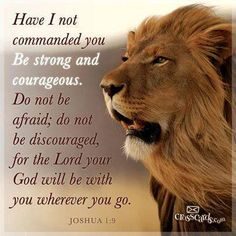 """Have I not commanded you? Be strong and courageous. Do not be afraid; do not be discouraged, for the Lord your God will be with you wherever you go."""""""