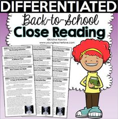 Back to School Differentiated Close Reading Differentiated Passages, Text-Dependent Questions, and What Is Close Reading, 3rd Grade Classroom, School Classroom, Vocabulary Graphic Organizer, Text Dependent Questions, First Day Of School Activities, Reading Comprehension Passages, Common Core Reading, Student Reading