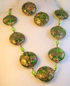 Italian Green and Gold Aventurino Lentil Bead Demi