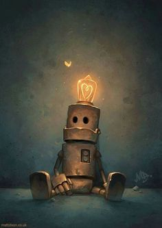 robot with lightbulb on head'