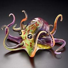 They look even more awesome in person! Multi-Color Soul Glass Octopus Sculpture by Soul Glass