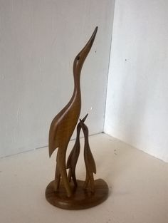 SOLD - Mid century modern wooden crane family figurine by BlindDogVintage on Etsy