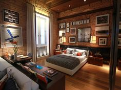 Quarto do Logan Henderson Urban House, Loft Design, House Design, Brick Wall Bedroom, Bedroom Workspace, Warehouse Living, Interior Architecture, Interior Design, Home Building Design