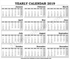 112 Best Yearly Calendar 2019 Images On Pinterest