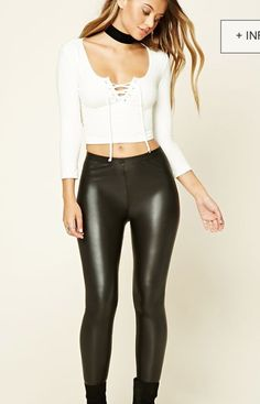 3780e854f4 Leather pants and tight crop top long sleeve with ties Imitaciones