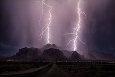 Superstition Mountains, monsoon lightening near Apache Junction, AZ