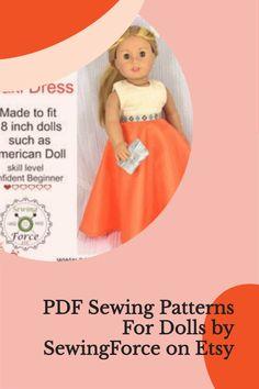 "PDF Sewing Pattern for 18"" dolls Etsy Crafts, Pdf Sewing Patterns, Etsy Seller, Dolls, Handmade Gifts, Baby Dolls, Kid Craft Gifts, Puppet, Craft Gifts"