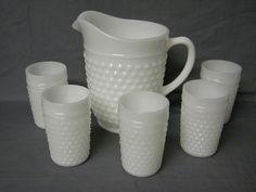 1960s White Milk Glass Anchor Hocking Hobnail Design Pitcher & 5 Glasses #ANCHORHOCKING