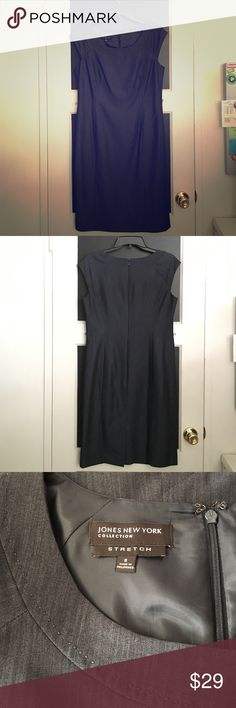 Jones New York Charcoal Dress Fitted dress with wide u neckline, bought new without a belt attached. Blended black charcoal colored fabric, fully lined, back slit, hidden zippered back with hook & eye closure. Perfect for the office. Lost weight, haven't worn and it's too big for me. Jones New York Dresses Midi