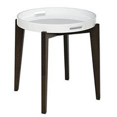 WOODEN TRAY KRISTA TABLE IN BLACK AND WHITE COLOR 50X50X54
