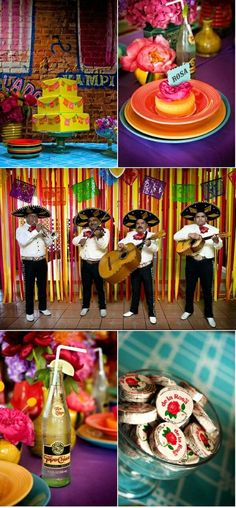 Mexican reception decor with a Mariachi band, De La Rosa candy and everything!!!