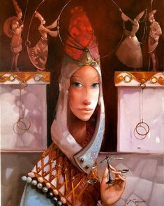 by Merab Gagiladze· Decision. Modern Surrealism, Art Et Illustration, Naive Art, Surreal Art, Portrait Art, Contemporary Artists, Female Art, Art Dolls, Illustrators