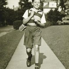 Inch Print - High quality print (other products available) - Teenage boy going to school, suburbs, (B&W) - Image supplied by Fine Art Storehouse - Photo Print made in the USA 1930s Fashion, Boy Fashion, Fashion Children, Vintage Fashion, School Outfits, Boy Outfits, School Posters, Boy Shorts, Poster Size Prints