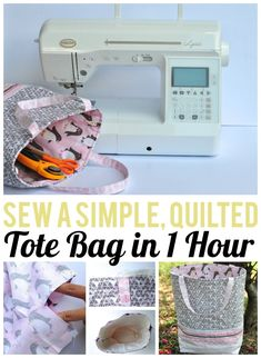 Sewing Fabric Sewing tutorial: 1 hour quilted tote bag - 1 hour is all you need to sew this pretty tote bag! Lindsay from Lindsay Sews shares a tutorial at Craftsy showing how. The outside of the bag is quilted, and the inside is lined. Bag Patterns To Sew, Tote Pattern, Sewing Patterns Free, Free Sewing, Handbag Patterns, Sewing Hacks, Sewing Tutorials, Sewing Projects, Sewing Tools