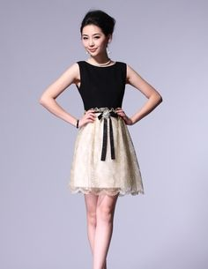 Fashion Gold thread embroidery  -Casual Dresses   Casual Dresses_BT (Black,Red)