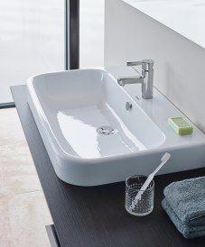 Lavabo de porcelana sobre encimera Happy D.2 de Duravit Colección de baño de finas esquinas redondeadas Happy D.2 diseño de Sieger Design para Duravit http://www.sanchezpla.es/bano-de-finas-esquinas-redondeadas-happy-d-2-de-duravit/