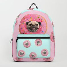 Pug Strawberry Donut Backpack by lostanaw 25% Off Everything Today! #off #pugs #puglover #backpacks #schoolbag #accessories #pets #pink #strawberry #donut #funny