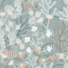Scandinavian design wallpaper Koralläng from the collection Wonderland by Hanna Werning - Boråstapeter - online in USA and Canada Teal Wallpaper, Modern Wallpaper, Wallpaper Samples, Wallpaper Roll, Designer Wallpaper, Pattern Wallpaper, Seaside Wallpaper, Hallway Wallpaper, Wallpaper Online