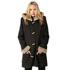 Bella Toggle Faux Fur Trim Wool Coat 190$
