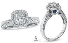 IN LOVE Princess-Cut Engagement Rings from the Vera Wang LOVE collection (A collection of diamond engagement rings and wedding bands exclusively at Zales).