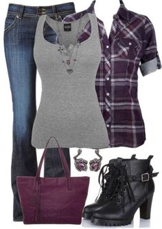 I love the plaid over tank top look. The necklace is one of those things I would say make an outfit.