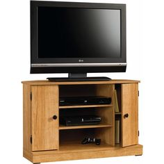 Storage Corner Wooden Tv Stand, Cord Managment, Organizational Space, Adjustable Shelves, Entertainment Center, Ideal For Living Room, Family Room, Home Furniture, Oak Finish + Expert Guide