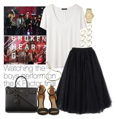 """Watching the boys perform on the X Factor final"" by wkus ❤ liked on Polyvore featuring ASOS, The Row, Ashish, MICHAEL Michael Kors, Yves Saint Laurent and Monica Vinader"