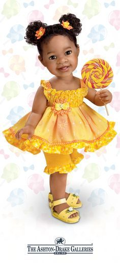 Lifelike little girl doll by Jane Bradbury, handcrafted, hand-painted, and poseable, with sunny yellow and orange outfit and lollipop accessory.