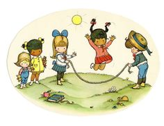 This is a two-for.  Playing jump rope with the neighborhood kids and Joan Walsh Anglund illustrations.