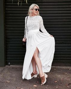 8a68fcc6f411 Self Portrait - Pleated Crochet Floral Maxi Dress Geometric Lace   Long  Sleeve   White Dress