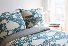 The Rainy Day Bed Set is available in 4 sizes.100% cotton, 200 thread count; button fastenings at foot of the end of all duvet covers. Made in Portugal.