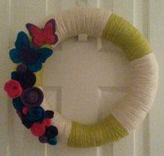 Butterfly yarn wreath