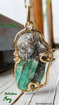 Emerald Necklace Raw Emerald Pendant Green Beryl Anniversary Unisex Wife Gift For Husband May Birthstone Emerald Pendant, Emerald Necklace, Emerald Jewelry, Turquoise Jewelry, Gemstone Jewelry, Gold Jewellery, Jewlery, Birthstone Gems, Raw Emerald