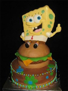 SpongeBob Squarepants Cake. This amazing cake was made by Kathy J., a volunteer for Birthday Cakes 4 Free. www.birthdaycakes4free.com #cake