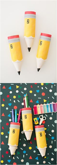 Paper Pencil Paper Tube Craft with Free Printable Template. Stuff these DIY pencils with treats for teachers and/or the kids to celebrate back to school!