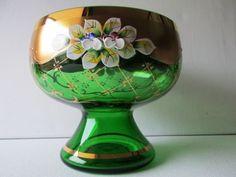 Bohemian-Green-GLASS-VASE-PEDESTAL-CANDY-DISH-GILDING-ENAMELED-Florals-5-1-NEW