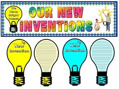 "FREE!  Feb, 11 is Thomas Edison's birthday and Inventors' Day.  Download these FREE ""My Bright Idea - New Invention"" light bulb writing templates AND matching bulletin board banner.  This free download link is available from Feb. 1 - 14, 2013. Free Teaching Resources, Teaching Social Studies, Teaching Ideas, School Fun, School Ideas, Steam Education, Paper Templates, New Inventions, Board Ideas"