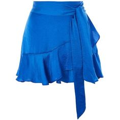 PETITE Ruffle Tie Mini Skirt (105 BRL) ❤ liked on Polyvore featuring skirts, mini skirts, short ruffle skirt, short blue skirt, flouncy skirt, frilly skirt and short skirts